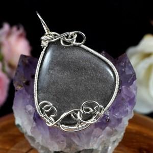 Obsydian srebrzysty, Srebrny wisior z obsydianem, prezent dla niej, prezent dla mamy, prezent dla dziewczymy, biżuteria ręcznie robiona