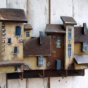 Drewniany wieszak na klucze - Kamieniczki