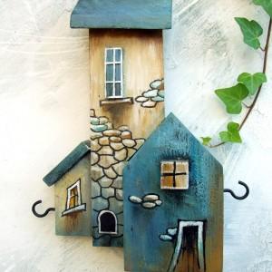 Drewniany, mały wieszaczek na klucze
