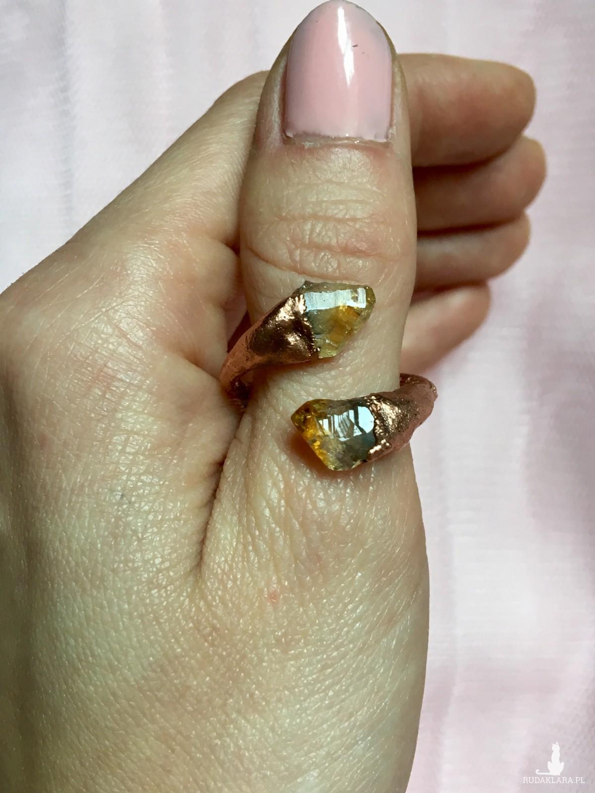 Regulowany pierścionek z cytrynem z miedzi