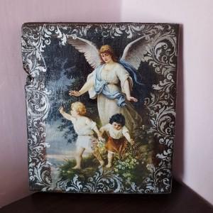 """Obraz """"Anioł czuwający nad dziećmi"""" na starym drewnie"""