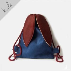 Mini plecak królik granatowo-bordowy