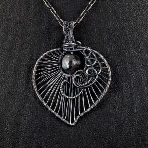 Larvikit, Srebrny wisior z larvikitem, ręcznie wykonany, prezent dla niej, prezent dla mamy, prezent urodzinowy, niepowtarzalna biżuteria
