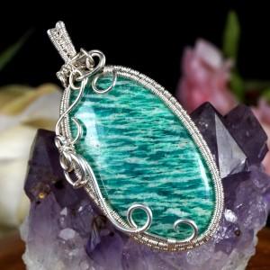 Amazonit, Srebrny wisior z amazonitem, ręcznie wykonany, prezent dla niej, prezent dla mamy, prezent urodzinowy, niepowtarzalna biżuteria