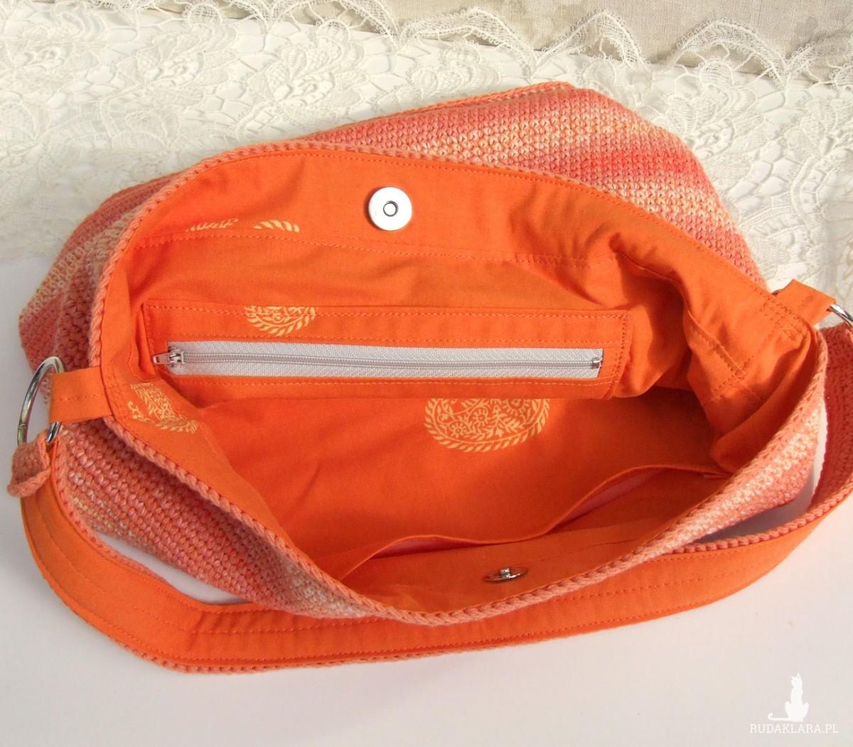 Torba na ramię, pastelowy pomarańcz