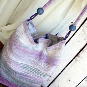 Szaro-fioletowa Torba-worek na ramię