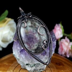 Lepidolit, Miedziany wisior z lepidolitem, ręcznie wykonany, prezent dla niej, dla mamy, prezent dla kobiety, ręcznbie robiona biżuteria