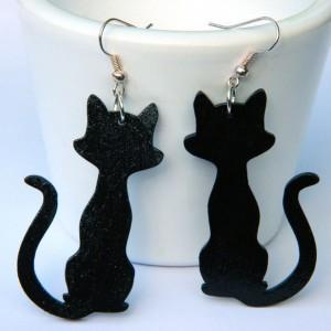 Kolczyki koty, czarny kot na szczęście, biżuteria z motywem kota, Kotki, Prezent z kotem