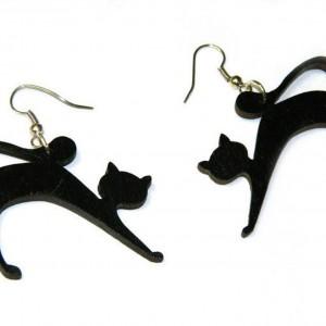 Kolczyki kotki, biżuteria z kotem, prezent dla kociary, Czarne kolczyki, Biżuteria dla wiedźmy na Halloween