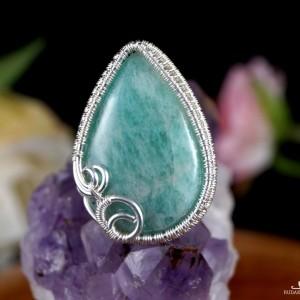 Amazonit, Srebrny pierścionek z amazonitem, ręcznie wykonany, prezent dla niej, prezent dla mamy, prezent urodzinowy, biżuteria autorska