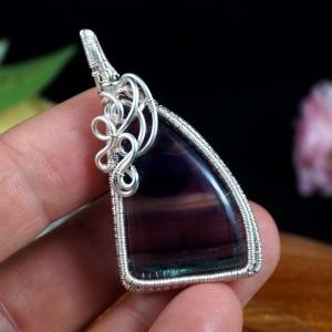Fluoryt, Srebrny wisior z fluorytem, ręcznie wykonany, prezent dla niej, prezent dla mamy, prezent urodzinowy biżuteria autorska