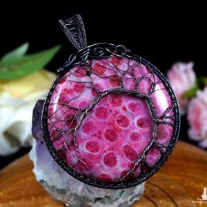 Drzewko szczęścia, Miedziany wisior ze skamieliną koralu, ręcznie wykonany, prezent dla niej, prezent dla mamy, prezent urodzinowy
