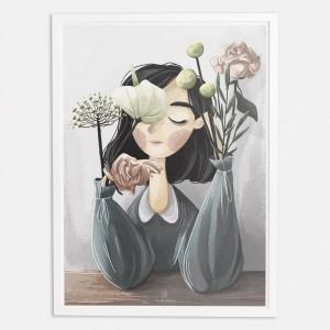 Kobieta i kwiaty 30x40cm