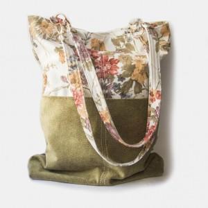 Welurowa torba na ramię w kwiaty