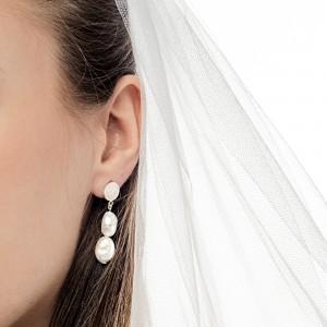 Kolczyki srebrne wiszące z naturalnymi perłami