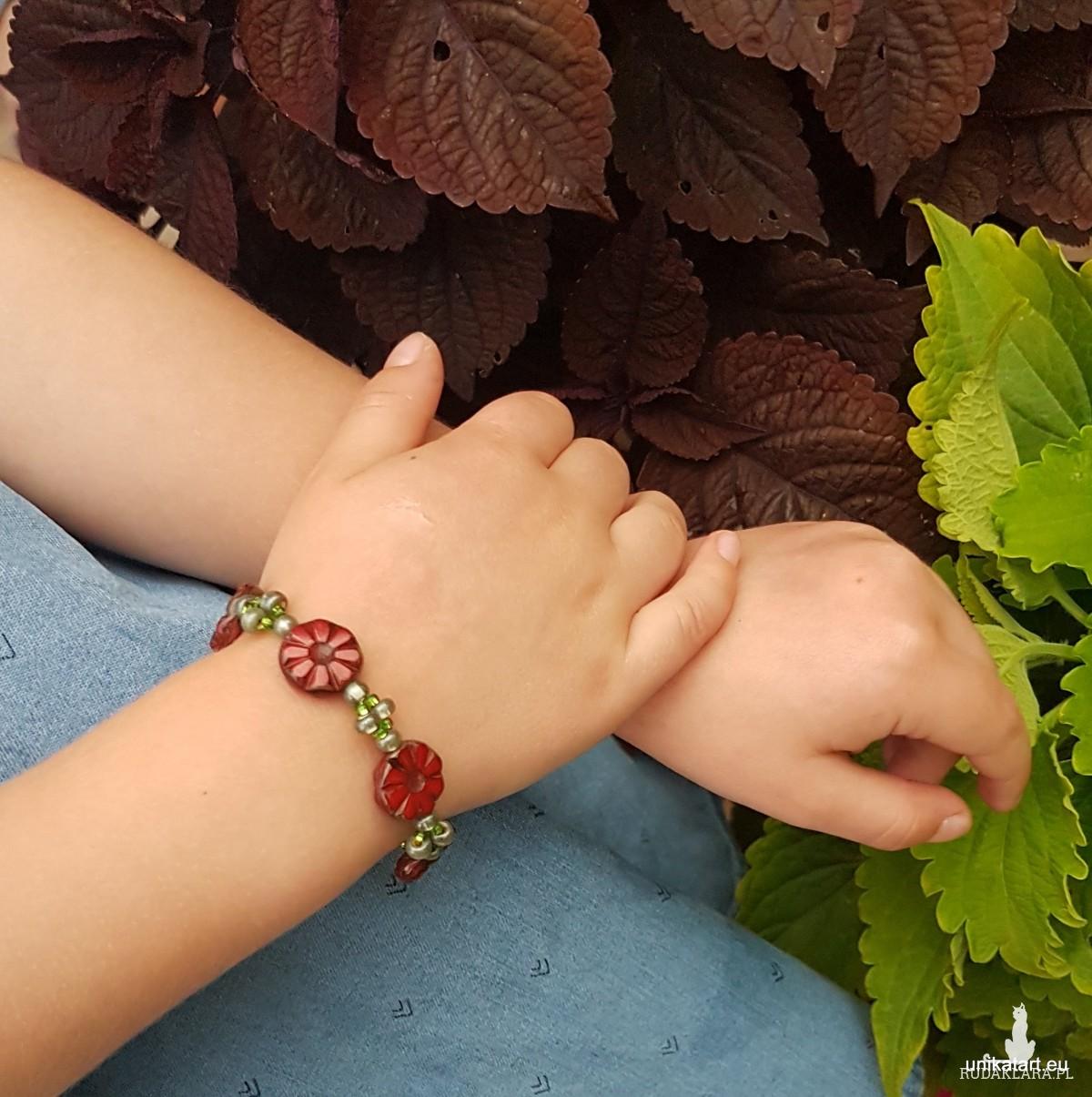 Bransoletka Dla dziewczynki Bizuteria Dzieci Bransoletka w Kwiatki