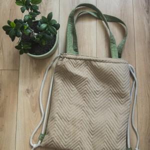 Plecak torba 2w1 beżowa w jodełkę