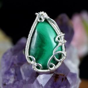 Malachit, Srebrny pierścionek z malachitem, ręcznie wykonany, prezent dla niej, prezent dla mamy, prezent urodzinowy, biżuteria autorska