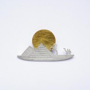 Zawieszka srebrna - Piramidy biała