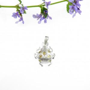 Wisiorek srebrny - Biedronka mała biała