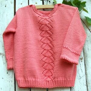 Sweterek dla dziewczynki, ażurowy wzór