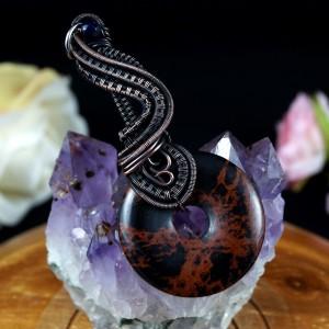 Jaspis, Miedziany wisior z jaspisem brązowym, ręcznie wykonany, prezent dla niej prezent dla mamy prezent urodzinowy biżuteria autorska