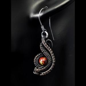 Kamień krwisty, Kolczyki miedziane w kształcie oka z heliotropem, krwawnikiem, ręcznie wykonane, prezent dla niej, prezent dla mamy, oko