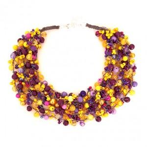 4371 naszyjnik kolia fioletowy żółty