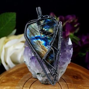 Labradoryt Niebieski, Srebrny wisior z Labradorytem ręcznie wykonany prezent dla niej prezent dla mamy prezent urodzinowy biżuteria autorska