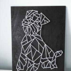 Obraz geometryczny pies string art