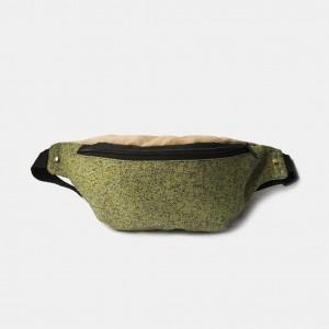 Zielona pleciona nerka XL torebka biodrowa