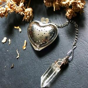 zaparzacz herbaty/ziół serce z kryształem górskim