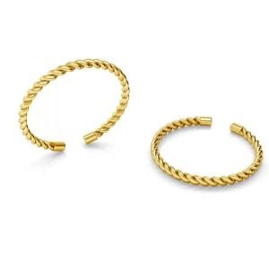 pierścionek SZNURECZEK- srebro złocone