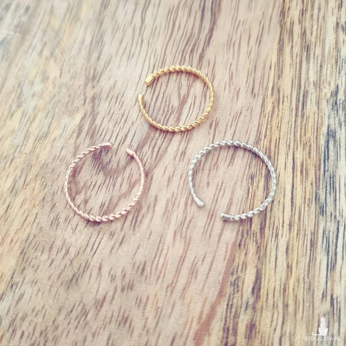 pierścionek SZNURECZEK- różowe złoto