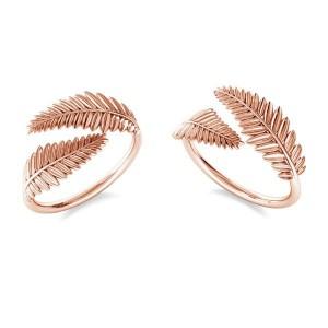 pierścionek LISTKI- różowe złoto