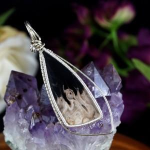 Agat bambusowy, srebrny wisior z agatem, prezent dla niej, prezent dla mamy, ręcznie robiona biżuteria autorska, unisex, pomysł na prezent