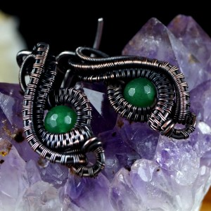 Agat, Miedziane kolczyki z agatem zielonym patynowane, ręcznie wykonane, prezent dla niej, prezent dla mamy, prezent urodzinowy, biżuteria