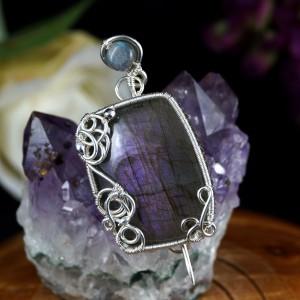 Labradoryt, Srebrna broszka z Labradorytem,  prezent dla niej, prezent dla mamy, prezent urodzinowy niepowtarzalna biżuteria