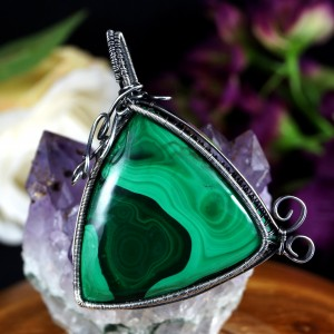 Malachit, Srebrny wisior z Malachitem, ręcznie wykonany, prezent dla niej, prezent dla mamy, prezent urodzinowy, biżuteria autorska