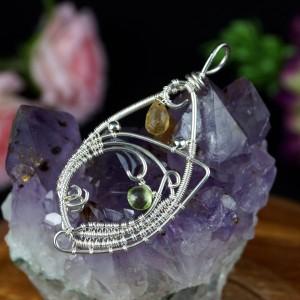 Cytryn i peridot, Srebrny wisiorek z kroplą cytrynu, ręcznie wykonany, prezent dla niej, prezent dla mamy, prezent urodzinowy, biżuteria