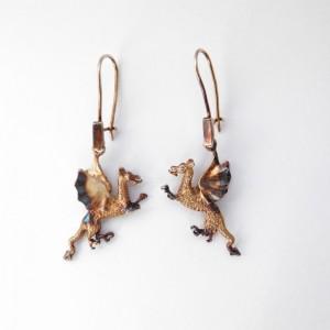 Kolczyki srebrne - Smok wawelski brązowy