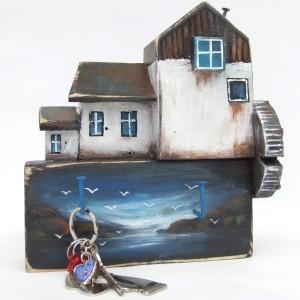 Drewniany wieszaczek na klucze - Młyn
