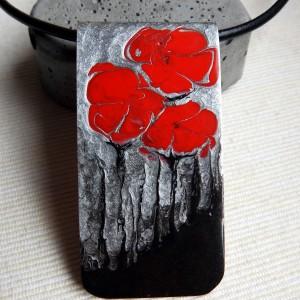 """Naszyjnik skórzany z zawieszką ręcznie malowaną """"Maki"""""""