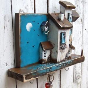 Kamieniczki - drewniany wieszak na klucze