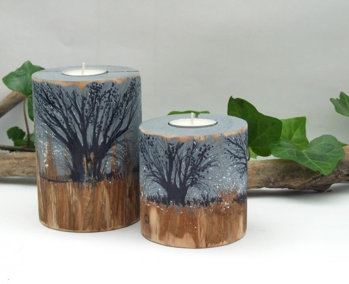 Dwa drewniane, okrągłe świeczniki - Wierzby