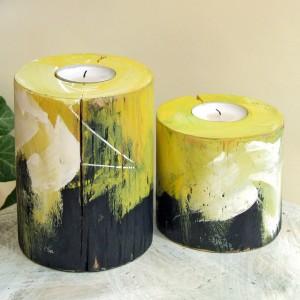 Dwa drewniane, okrągłe świeczniki - Zabawa kolorem