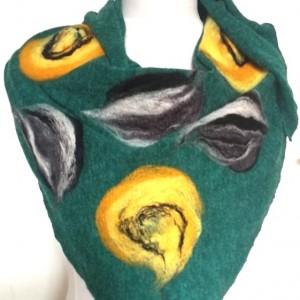zielona chusta handmade wełniana