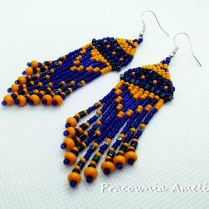 kolczyki indiańskie pomarańczowo-kobaltowe