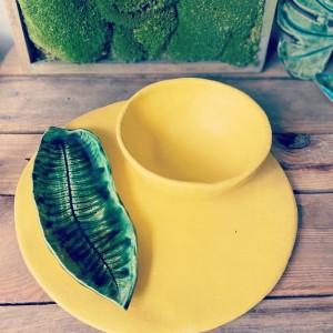 Zestaw ceramiczny żółty mat