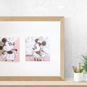 plakat z myszką Miki i myszką Minnie, Disney plakat dla dzieci, pastelowy obrazek dla dzieci